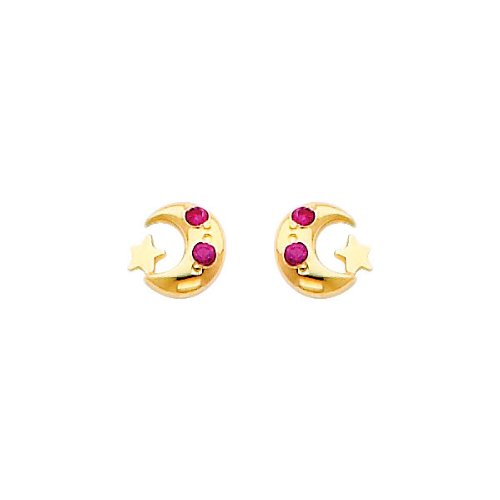 14K Yellow Gold Crescent Moon and Star Red CZ Stud Earrings for Children and Baby