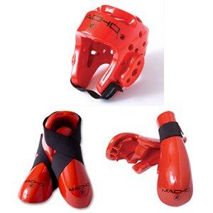 Macho Dyna Sparring Gear Karate TaeKwonDo TKD - Red 5pc Set (Head (Medium) - Punch... by Macho