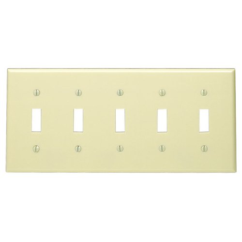 leviton-86023-5-gang-toggle-device-switch-wallplate-standard-size-thermoset-device-mount-ivory