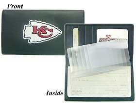 Kansas City Chiefs Embroidered Leather Checkbook Cover by Hall of Fame Memorabilia