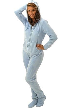 Del Rossa Microfleece Footed Pajamas,Light Blue, Medium (A0322LBLMD)