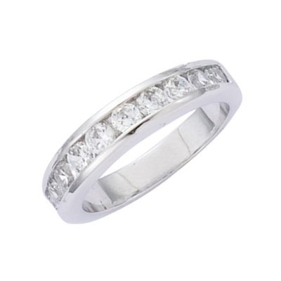 Sterling Silver Clear Cubic Zirconia Half Eternity Wedding Band Ring - Size 9