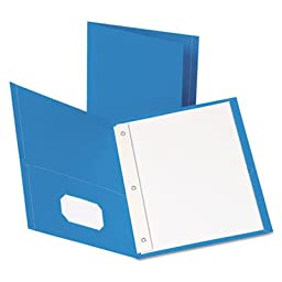 Twin-Pocket Folders with 3 Fasteners, Letter, 1/2\'\' Capacity, Light Blue, 25/Box, Sold as 1 Box