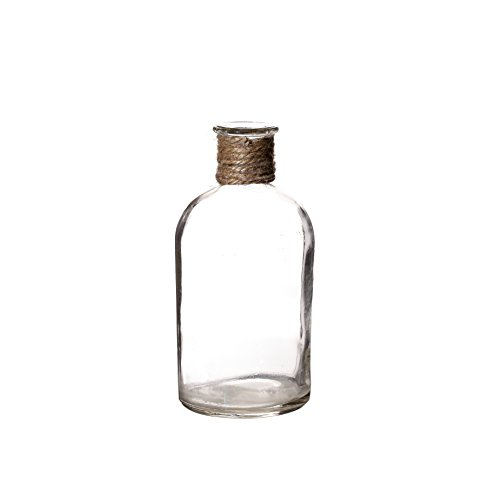 V-More Small Vintage Glass Bottle Flower Bud Vase with Jute Rope, Multicolored, 5.3-inch Tall, For Home Decor, Wedding, Party, Celebration【Set of 6 (2 Light Blue + 2 Yellow + 2 Clear)】 1