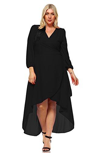 Zoozie LA Women's Plus Size Wrap Dress with Sleeve and Belt Black 1X (Inc Dress Wrap compare prices)