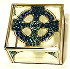 Decorative Hand Painted Glass Mirrored Jewellery Box in a Celtic Cross Design. Celtic Glass Designs presents Winged Heart's stunning hand painted glass giftware. These significant and expressive gifts are ideal for Mother's Day, Christmas, Valentine's Da