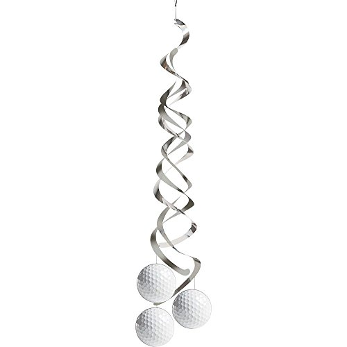 Creative Converting 2 Count Sports Fanatic Golf Deluxe Danglers, White/White