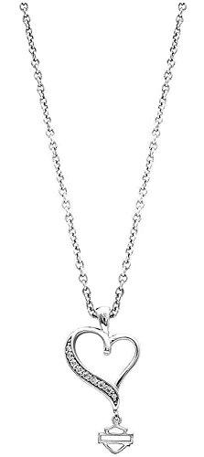 Harley-Davidson Women's Necklace, Embellished Rebel Heart, Silver HDN0315-18