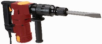10 Amp, 120 Volt Demolition Impact Hammer with Adjustable 360° Side Handle and Ergonomic D-grip Handle; COMES WITH: bull point and spade chisels, gr