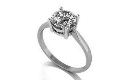 Moissanite 18ct White Gold 1.50 Carat Round Brilliant Cut Ring - Zoe Kay Jewellery