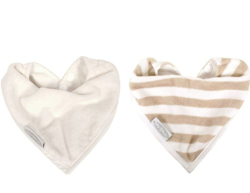 2 Pack Water Resistant Organic Cotton Bandana Bibs 0-2 years (Snow/Snow Stripes)
