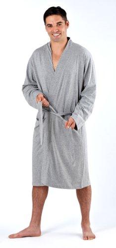 Mens Harvey James 100% Cotton Style Kimono Bathrobe Dressing Gown Grey Lrg