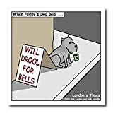 Pavlovs Dog Begging - 6x6 Iron On Heat Transfer For White Material