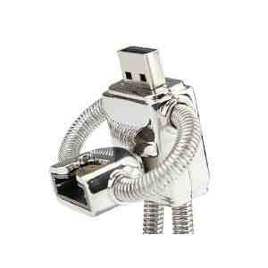 4GB ROBOT Stainless Steel High Speed USB 2.0 High Speed Flash Pen Drive Disk Memory Stick Support Windows and Mac OS Shock Proof Metallic Body with Key Ring and Belt Loop Great Gift from Zuber