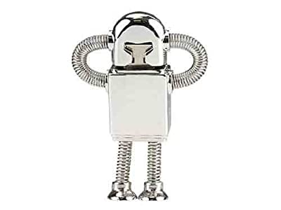 32GB ROBOT Stainless Steel High Speed USB 2.0 High Speed Flash Pen Drive Disk Memory Stick Support Windows and Mac OS Shock Proof Metallic Body with Key Ring and Belt Loop Great Gift from Zuber