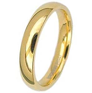 4MM Stainless Steel Yellow Gold Plated High Polished Comfort Fit Traditional Dome Wedding Ring -Crazy2Shop from Crazy2Shop