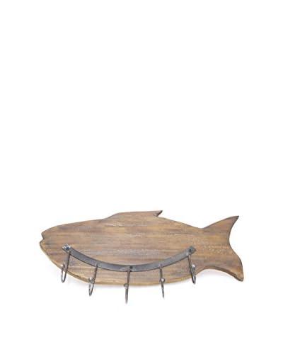 Three Hands Wood Metal Fish Wall Shelf