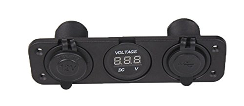 zowaysoon PJH-RS-0377 Car Digital Voltmeter Dual USB  2 Port Power Socket Three Hole Panel, Black (12 Volt Digital Meter compare prices)