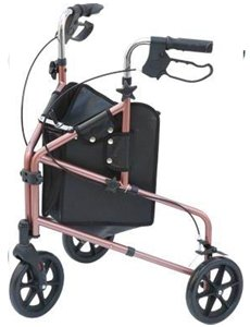 Z-TEC - Compact Deluxe Folding Aluminium Tri-Walker / Walking Aid - In Red.
