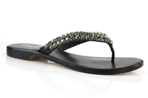 Cheap Unze Women Rhinestone Detailing V-Strap Thong Open-Toe Leather Party,Evening, Slipper – Ab-1104 (B001HIUSU6)