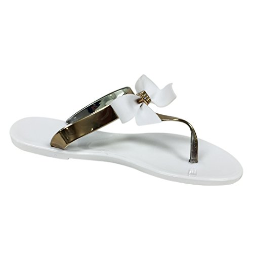 VeeVee Women's Jelly Sandals With Bow and Metallic straps - White - Medium
