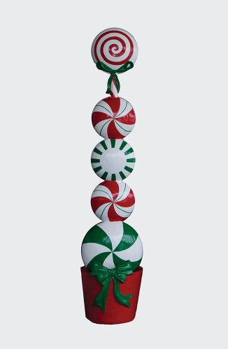 ... Peppermint Candy Topiary Fiberglass Christmas Decoration for sale