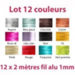 Lot 12 couleurs x 2 m�tres de fil alu...