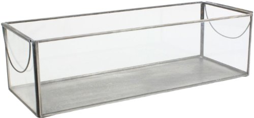 HomArt Pierre Metal and Glass Terrarium Tray