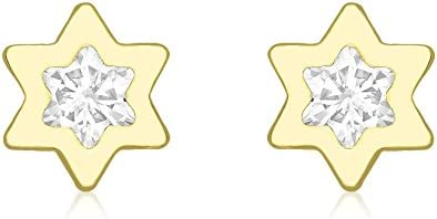 Carissima 9ct Yellow Gold Double CZ Star Stud Earrings