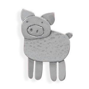 Sterling Silver Pin Pendant Pig Hog Piggy Piggie
