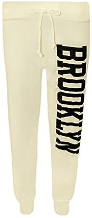 """WearAll - Jogging avec le mot """"BROOKLYN""""ou """"ABC""""""""XYZ"""" - Pantalons - """"Brooklyn"""" Crème - 36-38"""