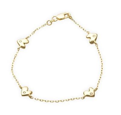 Miore Children's 18ct Yellow Gold Diamond Set Heart Bracelet 16cm AG0228