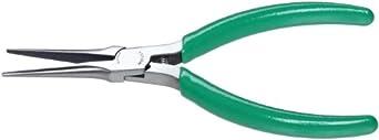"Xcelite NN55G Slim Line Needle Nose Plier, Smooth Jaw, 5-1/2"" Length 1-11/16"" Jaw Length, Green Cushion Grip"