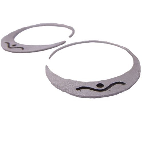 Shiva Moon Hoop Earrings in Brushed Matte Sterling Silver
