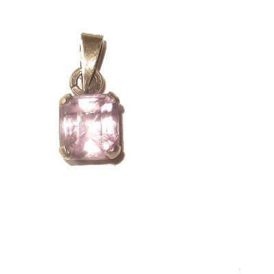 Amethyst Pendant 13 Sterling Silver Square Faceted Purple Gemstone 0.7