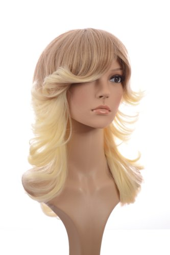 [Rooted Blonde 70's Inspired Wig | Flicked Curl Hairstyle | Charlies Angels Hairstyle Wigs] (Farrah Fawcett Wig)