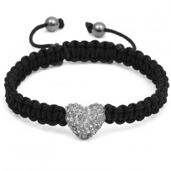Candy Bling Heart Crystal Shamballa Bracelet Black Diamond