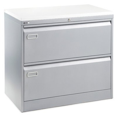 Go 2 Drawer Lateral Filing Cabinet Finish: Silver / White