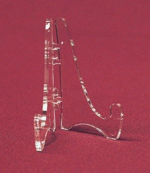 "(12) Mini Hinged Acrylic Easels, 2.125""H, Modern Plate Holder"