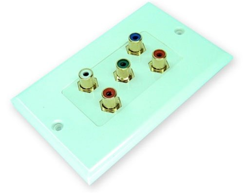 Cmple - Component Video Audio Wall Plate 5-RCA Gold Connectors