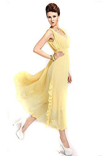 Lanlan Womens Chiffon Solid Party Ball Boho Sleeveless Beach Long Dress Yellow L
