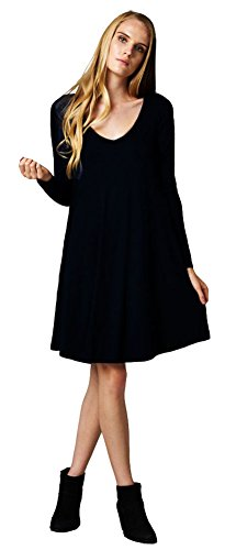 Womens Casual Feminine Long Sleeve Shirt Dress Large Black