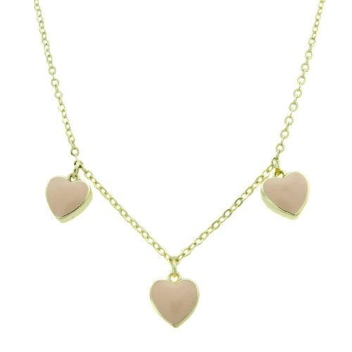 Lily Nily 18k Gold Overlay Children's Pink Enamel Hearts Dangle Necklace