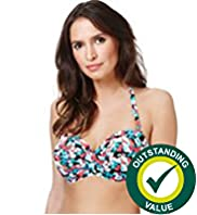 Halterneck Pansy Print Bikini Top