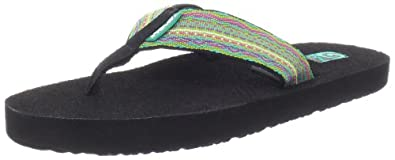Teva Women's Mush II Flip Flop,Santori Tribal Neon Lime,5 M US