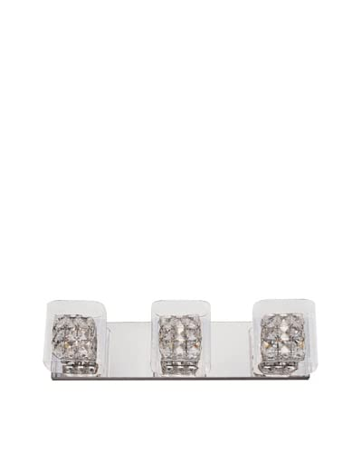 Bel Air Lighting Block Crystal 3-Light Vanity, Crystal-Chrome