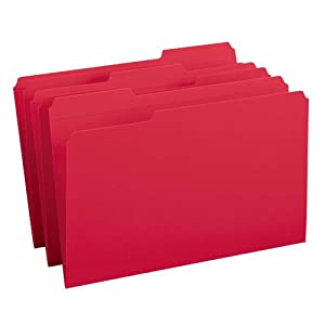 Smead File Folder, Reinforced 1/3-Cut Tab, Legal Size, Red, 100 per Box (17734)