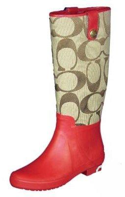 Coach Polly Signature Rubber Rain Boots (5, Khaki/Cherry)