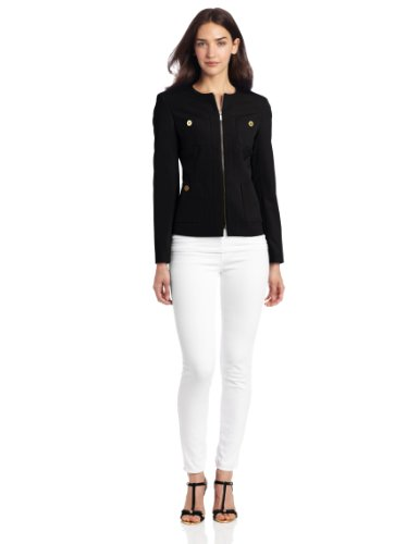 Jones New York Women's 4 Pocket Long Sleeve Jacket, Jet Black, 8 at Amazon.com