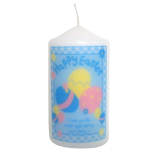 Happy Easter Eggs Candle. This is a great product that can be personalised to your requirements ( please see main discription for full details ) Ideal gifts and presents for weddings, Christenings, Birthdays, Christmas etc...